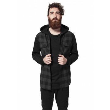 Urban Classics Hooded Checked Flanell Sweat Sleeve